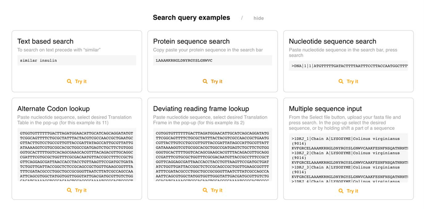 Automated example queries in the Search tool,  Explore the wide range of input possibilities of Search
